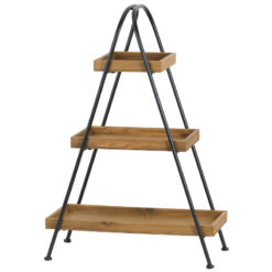 Small Industrial Style Wood And Black Metal Display Shelf Plant Stand