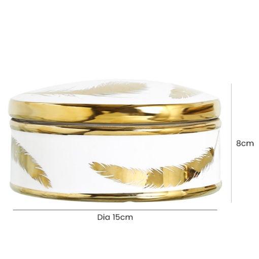 Small White And Gold Trinket Box Jewellery Box
