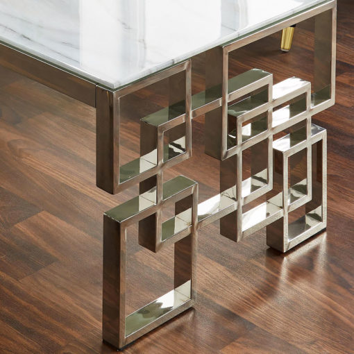 Cleo Silver Plated Stainless Steel And White Marble Glass Coffee Table