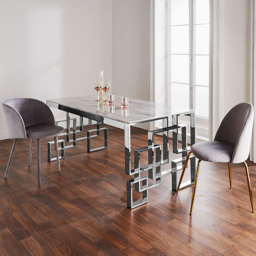 Cleo Silver Plated Stainless Steel And Marble Glass Dining Table