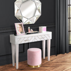 Fenton 2 Drawer Washed White Wood Mirror Top Console Dressing Table