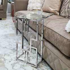 Geo Chrome And Glass Sofa Table Laptop Table Side End Table