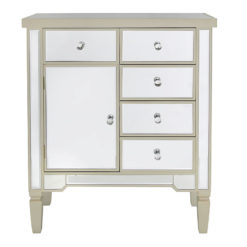 Georgia Champagne Luxe Mirrored Chest of 5 Drawers 1 Door Cabinet