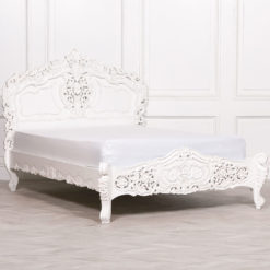 Louis French Country House Rococo Carved White Mahogany Double Bed