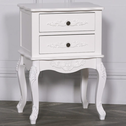 Louis French Style Country House Rococo Hardwood White Bedside Cabinet