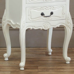 Louis French Style Country House Rococo Mahogany White Bedside Cabinet