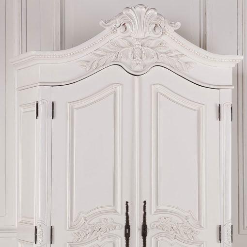 Louis French Style Country House Rococo White Carved Mahogany Wardrobe