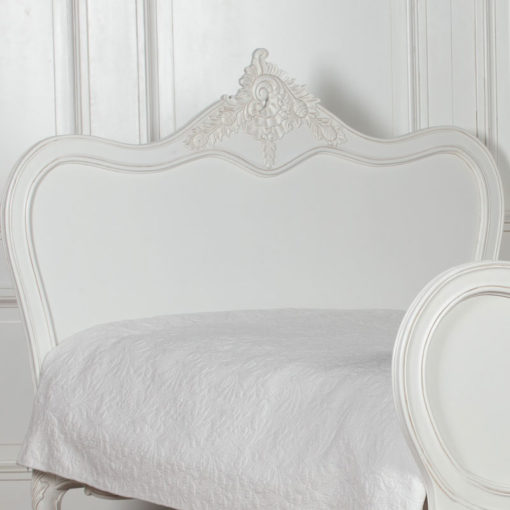 Louis French Style Country House Rococo White Mahogany King Size Bed