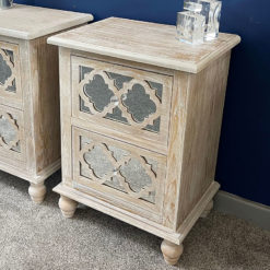 Newport Mirrored 2 Drawer Hampton Style Bedside Cabinet Bedside Table