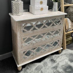 Newport Mirrored 3 Drawer Hampton Style Cabinet Sideboard Chest
