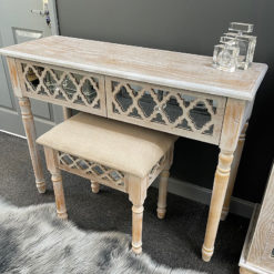 Newport Mirrored Hampton Style Set Of 2 Drawer Console Table And Stool