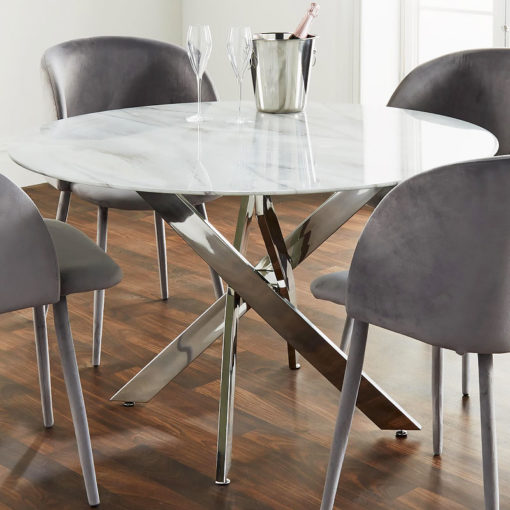 Silver Plated Stainless Steel And Grey Marble Glass Dining Table