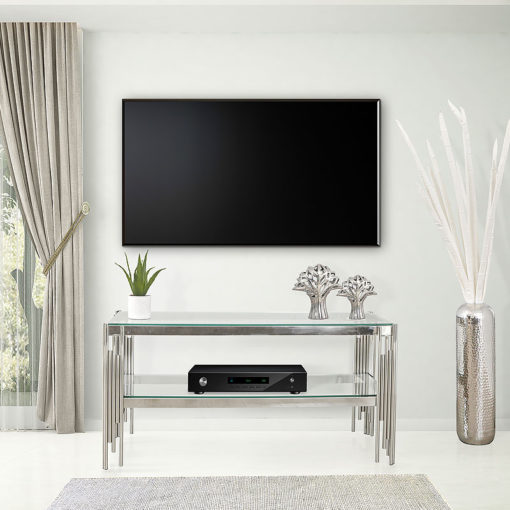 Colton Contemporary Stainless Steel And Glass TV Stand Media Unit
