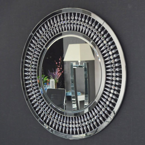 Crystal Round Feature Wall Mirror 90cm