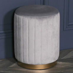 Grey Round Stool With Ribbed Sides And Gold Metal Base