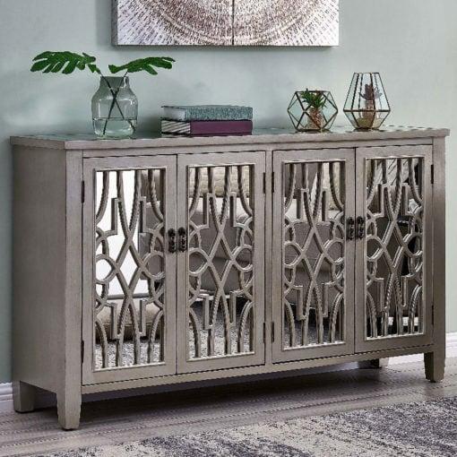 Gallo Soft Gold Wooden Mirrored 4 Door Sideboard Cabinet