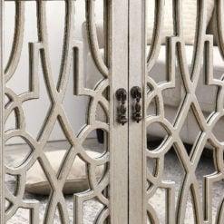 Natural Wood Mirrored 4 Door Sideboard Cabinet