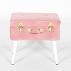 Pink Velvet Suitcase Storage Stool With White Legs And Gold Latches