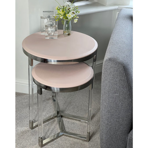 Set of 2 Faux Leather Pink Round Metal And Acrylic End Tables