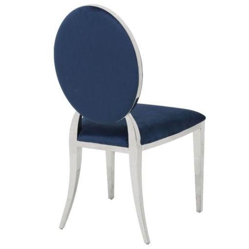 Anne Blue Velvet And Chrome Dining Chair Dressing Chair