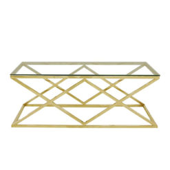 Antoinette Gold Metal And Glass Coffee Table
