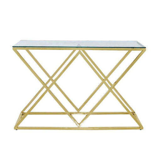 Antoinette Gold Metal And Glass Console Table Hallway Table