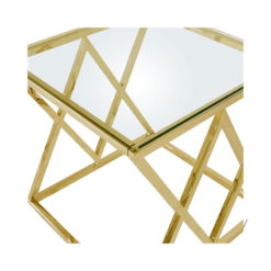 Antoinette Gold Metal And Glass End Side Table