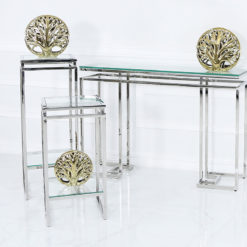 Ashton Glass and Stainless Steel Pedestal Side End Table