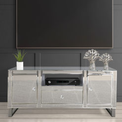 Beverly Mirrored 2 Door 1 Drawer TV Stand Entertainment Unit