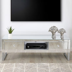 Beverly Mirrored 2 Drawer TV Stand Entertainment Unit With Metal Base