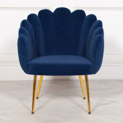 Blue Velvet Shell Dining Chair Bedroom Accent Chair With Gold Legs
