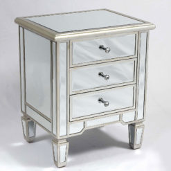 Canterbury Silver Mirrored 3 Drawer Venetian Bedside Cabinet