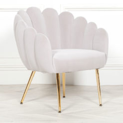 Grey Velvet Shell Dining Chair Bedroom Accent Chair With Gold Legs