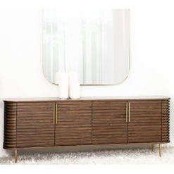 Kayla Natural Walnut Art Deco Sideboard With Brass Handles And Feet