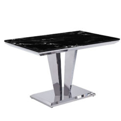 Kensington Black Marble And Stainless Steel Dining Table 120cm