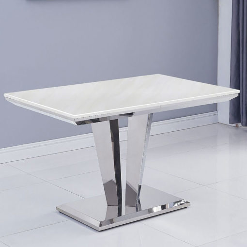Kensington Cream White Marble And Stainless Steel Dining Table 120cm