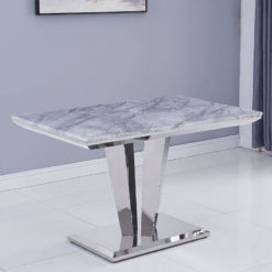 Kensington Grey Marble And Stainless Steel Dining Table 120cm