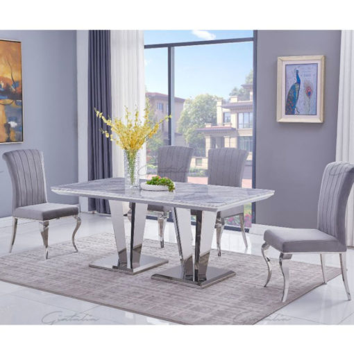 Kensington Grey Marble And Stainless Steel Dining Table 180cm