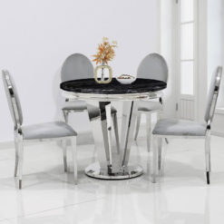 Kensington Round Black Marble And Stainless Steel Dining Table 130cm