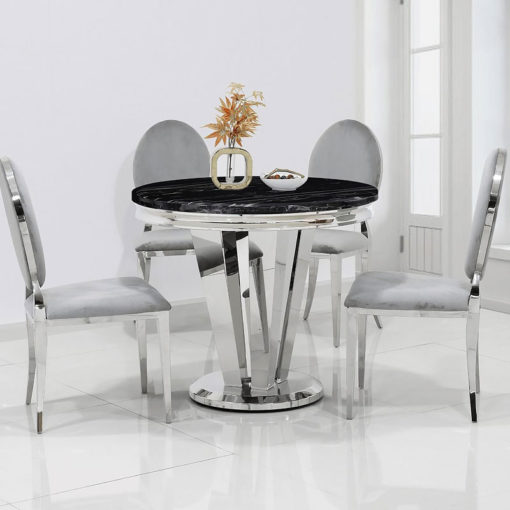 Kensington Round Black Marble And Stainless Steel Dining Table 90cm