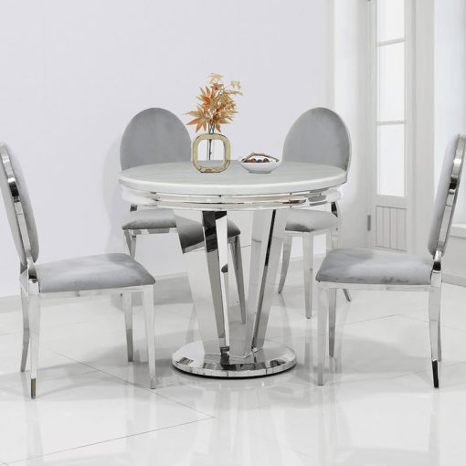 Kensington Round Cream Marble And Stainless Steel Dining Table 90cm