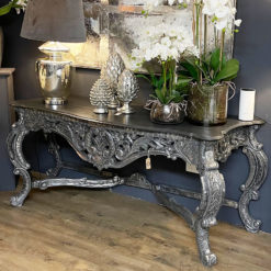 Louis Hand Carved Rococo Metallic Silver Large Console Table 191cm