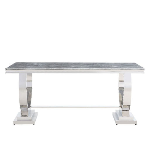 Mayfair Grey Marble Top Dining Table With A Stainless Steel Base 180cm