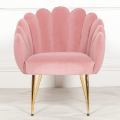 Pink Velvet Shell Dining Chair Bedroom Accent Chair With Gold Legs