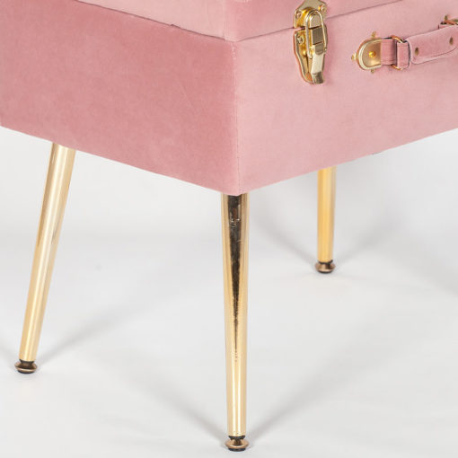Pink Velvet Suitcase Storage Stool With Gold Legs And Gold Latches