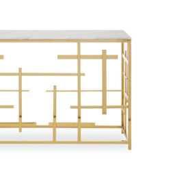 Premium Labyrinth Design Gold Metal And White Marble Console Table