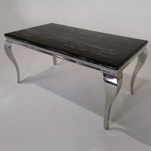 Richmond Black Marble And Stainless Steel Dining Table 140cm