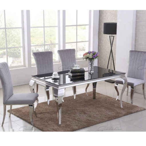 Richmond Grey Velvet And Stainless Steel Dining Chair