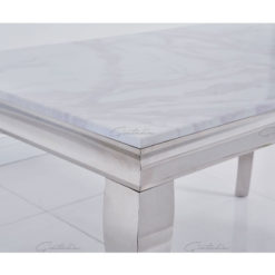 Richmond White Marble And Stainless Steel Dining Table 140cm