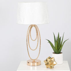 Rose Gold Metal Oval Table Lamp With White Cotton Shade